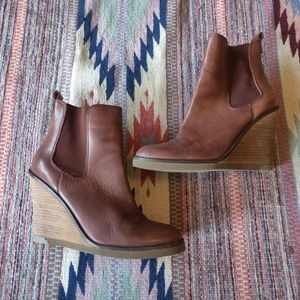 Lucky Brand Leather Wedge Ankle Boots Tan 9